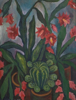 A. Mukhomedianov Cactus Blossoms', 1983, oil on canvas, 54x70