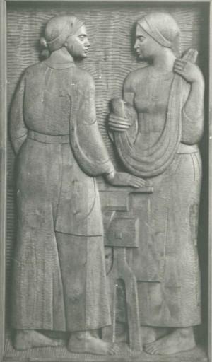 Із серії  Життя і побут закарпатців, Ткалі, 1981, дерево, 60х110