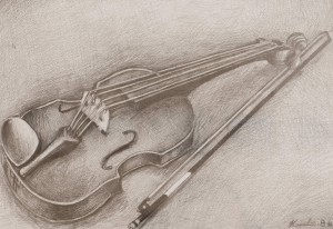 'A Romany Violin' The work of a student of the art school 'Rom Art'