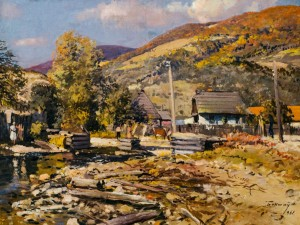 Stavne Village, 1961, oil on canvas, 75x97