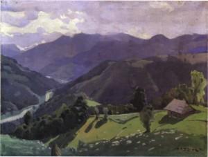 Хатка в горах, сер. 1960-х, п.о. 79х105