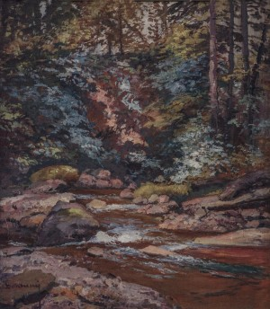 Stream In The Mountains, 1960s, oil on canvas, 75x64