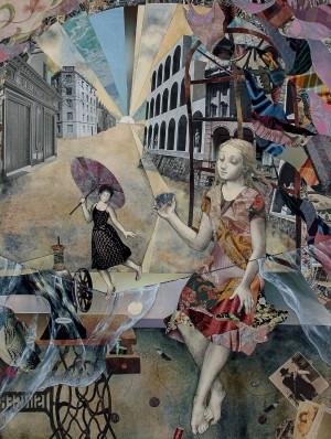 Triptych «Miss», (r.p.), 2000, paper collage, 81х62