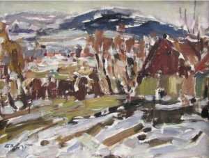 Village In Winter, oil on fibrolite, 39x52