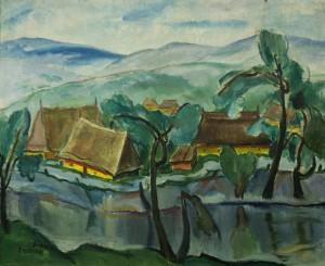 Houses Near the River, 1930s, oil on canvas, 65,5х80