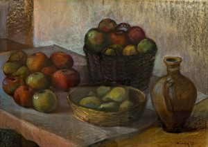 "Y. Klisa ""Still Life With Apples"", 2017, pastel on paper, 50x70"