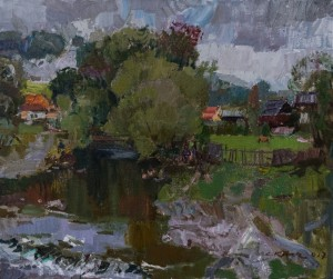 A. Kovach. Scenery With River, Stuzhytsia Village. 2017, oil on canvas, 50x60
