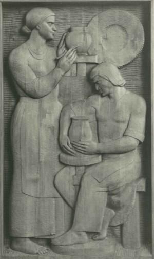 Із серії Життя і побут закарпатців, Гончарі,  1981, дерево, 60х110