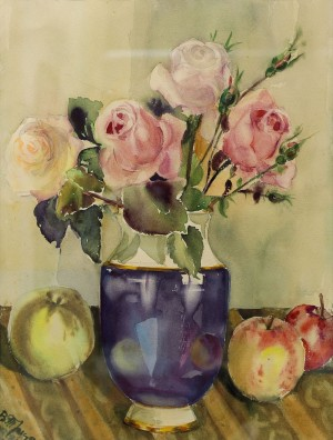 V. Trehubova Roses And Apples', 1986, watercolour on paper