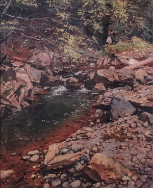 Stream In The Forest, 1949, oil on cardboard, 82x70