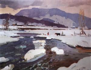 Березень. Крига рушила, 1957, п.о. 71х91
