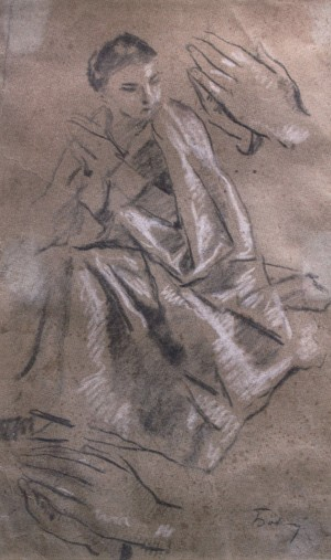 Studio, 1930s, pencil on paper, white, 34х23,5