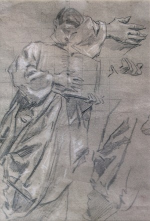 Studio, 1930s, pencil on paper, white, 40x24