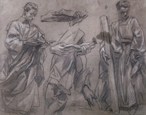 Studio, 1942, pencil on paper, white, 35x44