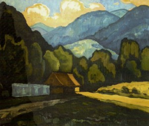 July (Kvasy village), 2001, oil on cardboard, 60х70