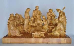 Dressing The Bride. Wedding, 1965, wood, high relief, round sculpture