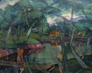 On the Bridge. (Sunset), 1930s, oil on canvas