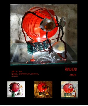 Punkhead, 2005, скло, алюміній, силікон, дзеркало, 28х37