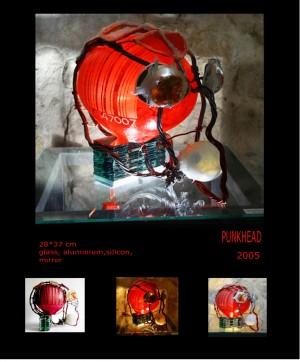 Punkhead, 2005, glass, aluminum, silicone, mirror, 28х37