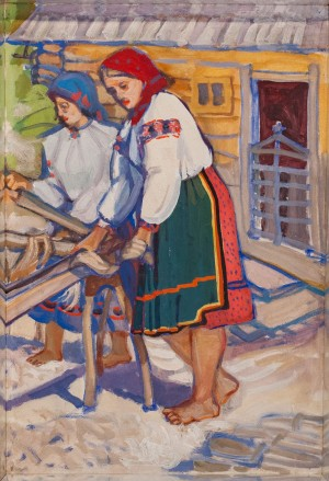 'Grinding Hemp', 1965, tempera on cardboard, 80x60