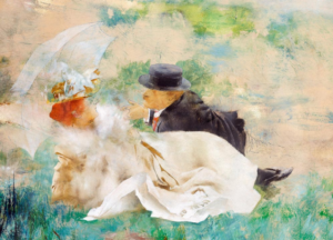 Courtship (Paris), 1980, oil on wood, 15x20,5.png