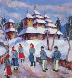 Коцка А. Біля церкви. 1937 р., ф.о., 110x100. Прив. збір