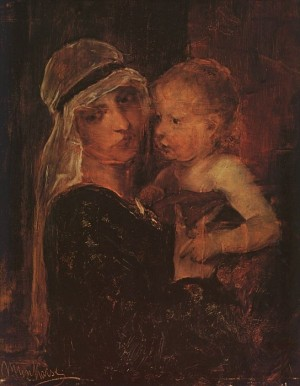 Mother and Child 19th century oil on canvas 59x48