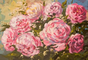 'Peonies' The work of a student of the art school 'Rom Art'