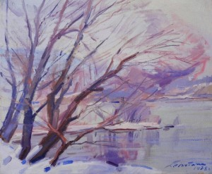Winter Morning On The River Bank. 1978