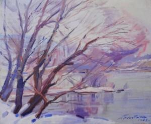 Зимовий ранок на березі річки