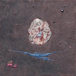 Північний вітер, шкіра,яшмоподібний агат, гранат, 31x31