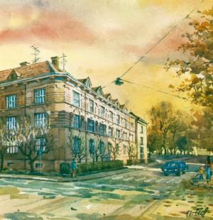 House in Dovzhenko Street,4 1997 watercolour