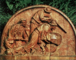 Opryshky, 1954, wood, high relief