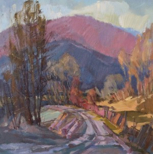 Kostryno Village. Autumn Morning, 2011, oil on canvas, 60x60