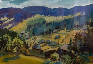 Panorama Of A Mountain Village, 2016, acrylic on cardboard, gouache, 50x70