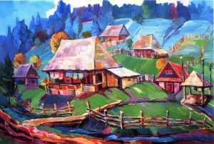 Transcarpathian Village, 2014, oil on canvas
