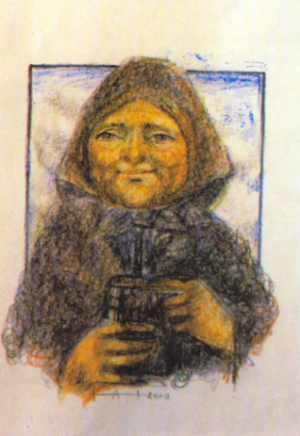 An Old Woman, coloured pencil on paper, 40x25