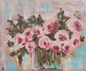 'Pink Roses', 2018, oil on canvas