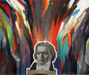 Ludwig van Beethoven's music canvas tempera, 2006