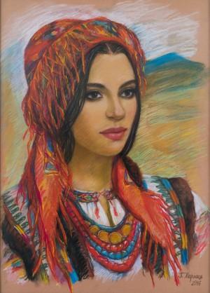 Hutsulka Ruslana, 2016, pastel, tinted paper, 50x70