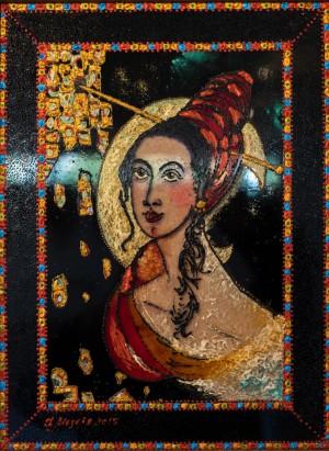 Love, 2015, glass, paint on glass, authors technique