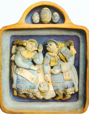 Matchmakers terracotta, relief, mural, tempera  7,3х7,3
