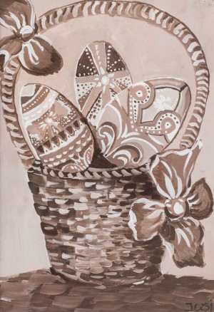 'Pysanka In The Basket' The work of a student of art school 'Rom Art'