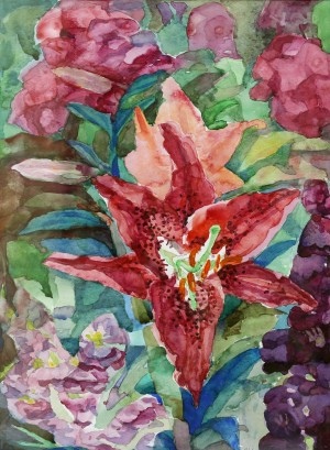 N. Trehubova Pink Lily', 2007, watercolour on paper