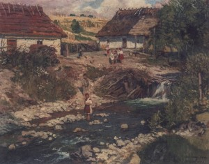 In The Village, 1941, oil on canvas, 80x100