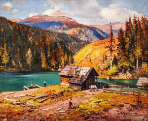 Uzhanska Dam, 1950s, oil on canvas, 91x110