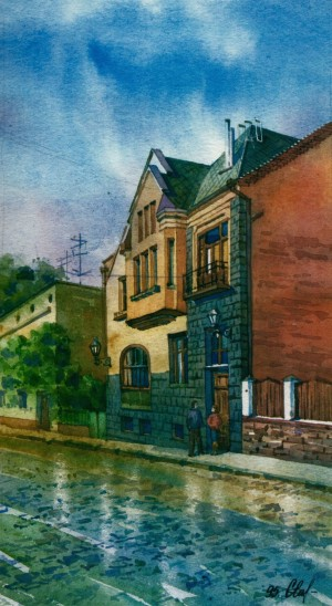 House in Dukhnovych Street,19 1995 watercolour