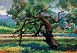 Landscape With An Old Tree, 1993, pastel on paper, 30х40