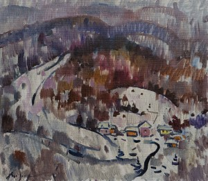 "A. Kopryva ""Winter In Vovkove Village"", 2017, oil on canvas, 70x79"