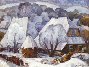 The Frosty Day in Richka Village, 1986, oil on cardboard, 75х85
